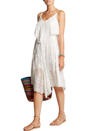 Lucia embroidered silk-chiffon dress