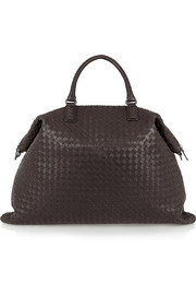 Convertible large intrecciato leather tote
