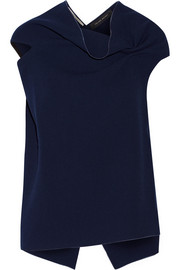 Eugene open-back wool-crepe top