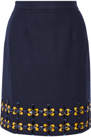 Embellished wool-blend skirt