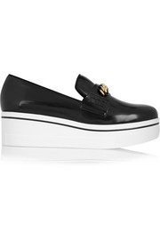 Faux leather platform loafers