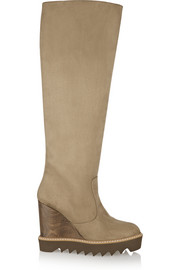 Faux suede wedge knee boots