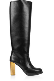 Faux leather knee boots