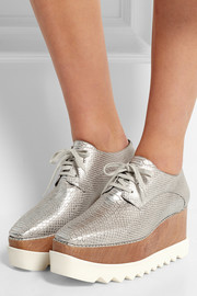 Metallic snake-effect faux leather platform brogues