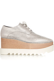 Stella McCartney Metallic snake-effect faux leather platform brogues
