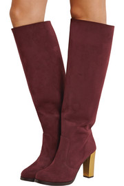 Faux suede knee boots