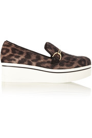 Stella McCartney Binx leopard-print faux calf hair platform loafers