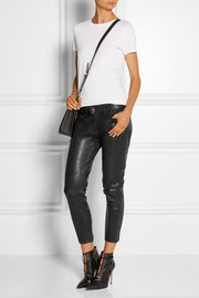 Frame Denim Le Garcon textured-leather slim boyfriend pants