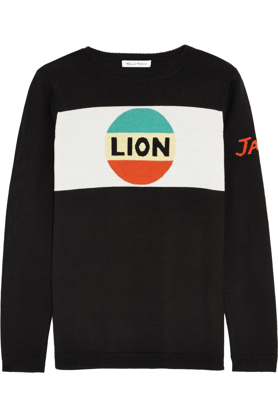 Bella Freud Lion Stripe Intarsia Merino Wool Sweater, Black, Women's, Size: XS