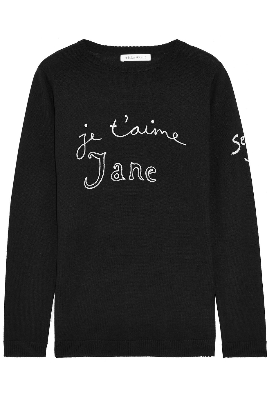 Bella Freud Je T'aime Jane Embroidered Wool Sweater, Black, Women's, Size: L