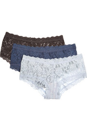 Signature set of three stretch-lace boy shorts