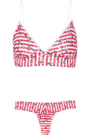 Printed stretch-lace soft-cup bra and thong set