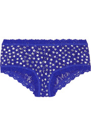 Star-print stretch-lace briefs