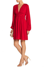 Ruched silk-georgette mini dress