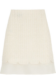 Silk organza-trimmed bouclé mini skirt