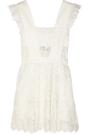 Ruffled guipure lace mini dress