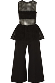 Embroidered tulle and crepe jumpsuit