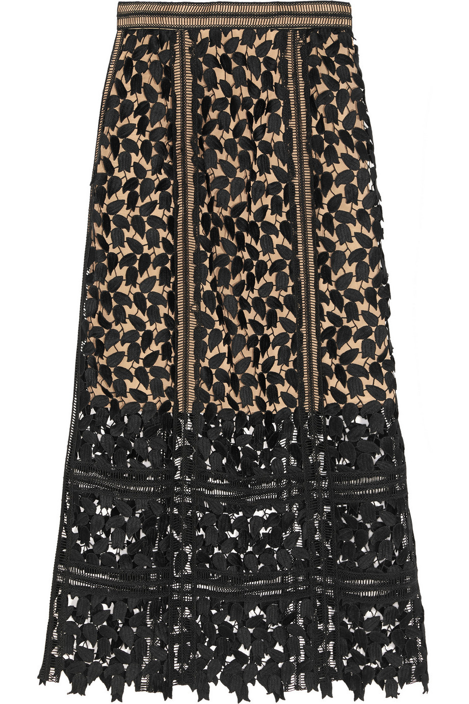 Self-Portrait Arabella Guipure Lace Midi Skirt, Black, Women's, Size: 6