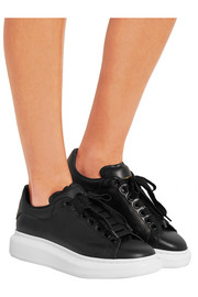 Textured-leather exaggerated-sole sneakers