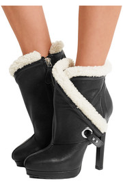 Shearling-trimmed textured-leather ankle boots