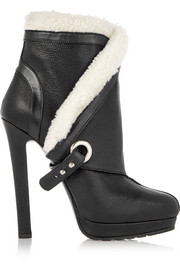 Alexander McQueen Shearling-trimmed textured-leather ankle boots
