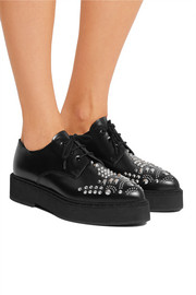 Studded leather platform brogues