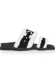 Shearling-trimmed suede slides
