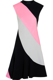 Claire color-block wool and crepe dress
