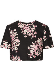 Bibbi cropped floral-print stretch-cotton top