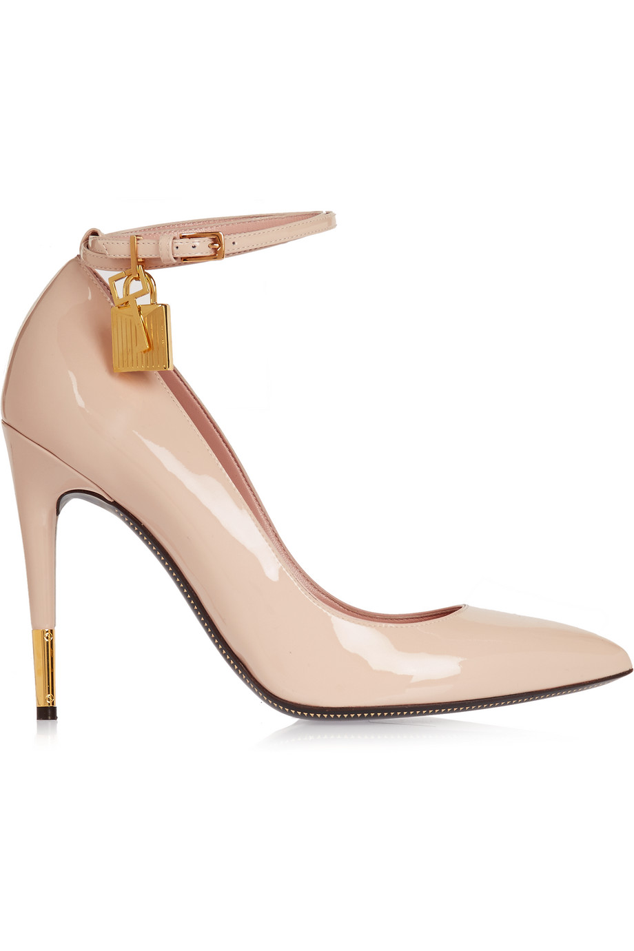 Patent-Leather Pumps, Beige, Women's US Size: 7.5, Size: 38