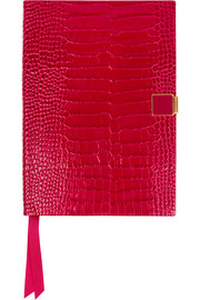Soho Clasp croc-effect leather diary