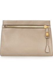 Alix medium textured-leather clutch