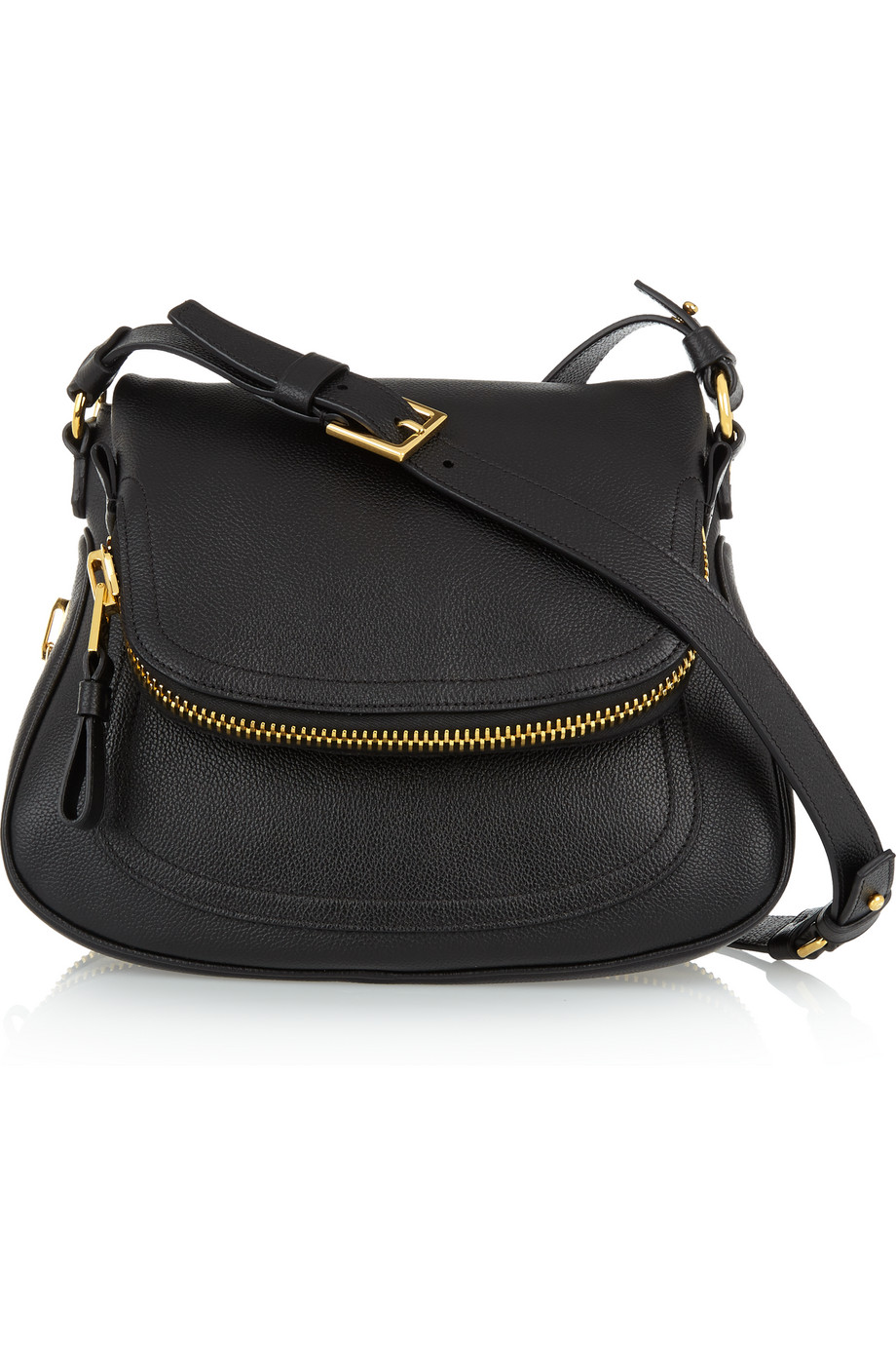Jennifer Medium Textured-Leather Shoulder Bag, Black, Women's