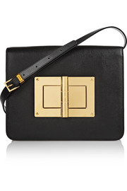 Natalia large textured-leather shoulder bag