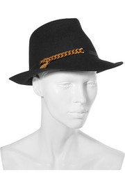 Chain-embellished wool-felt trilby