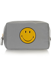 Smiley Face leather-trimmed cosmetics case
