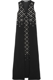 Embellished stretch-cady gown