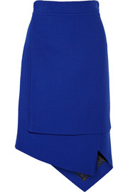 Asymmetric wool-blend crepe skirt