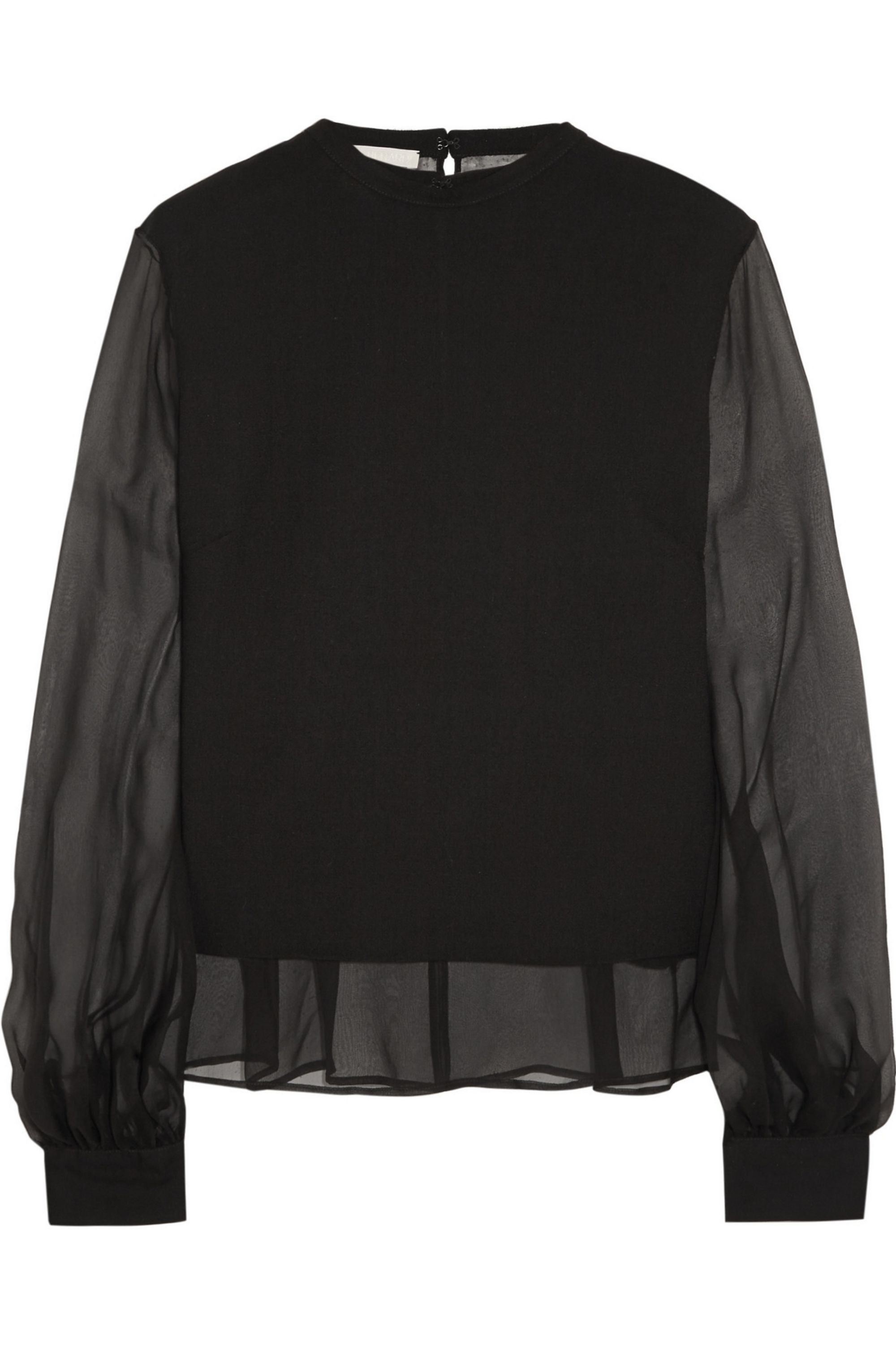 Antonio Berardi Silk-chiffon and wool-crepe blouse