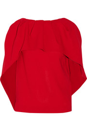 Pleated cape-back wool-crepe top