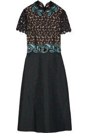 Lamur guipure lace and jacquard midi dress