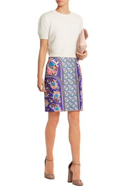 Elpida printed satin-twill skirt