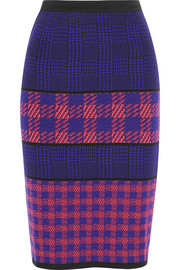 Laro houndstooth intarsia merino wool, cashmere and silk skirt