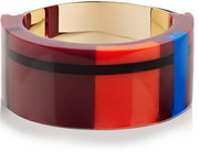 Gold-plated, resin and leather bracelet