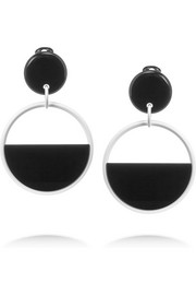 Marni Enameled brass and acetate clip earrings