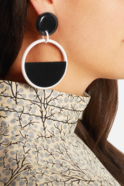 Enameled brass and acetate clip earrings