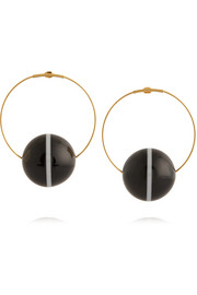 Gold-plated, horn and resin earrings