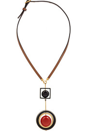 Leather and horn pendant necklace