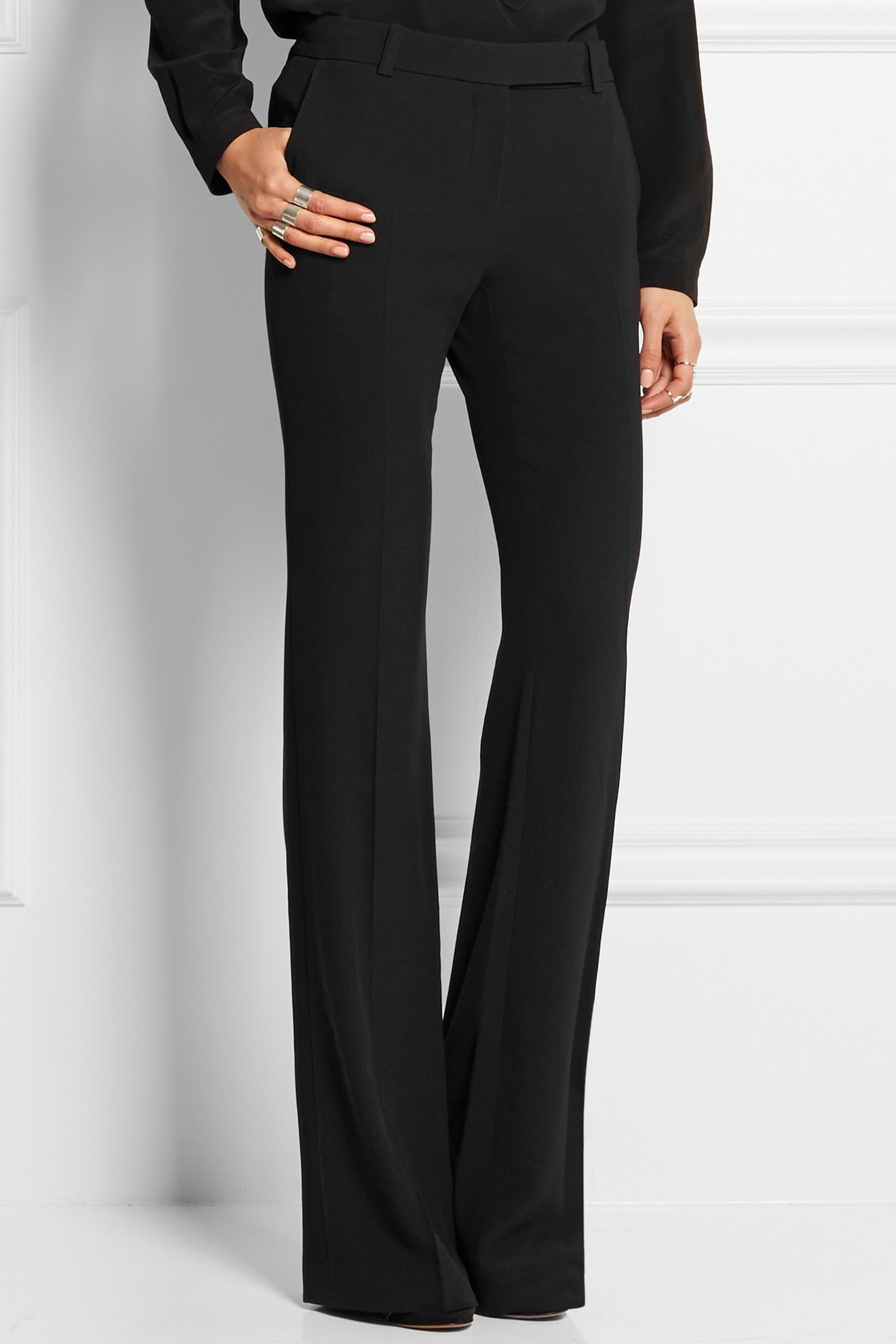 Alexander McQueen High-rise crepe flared pants