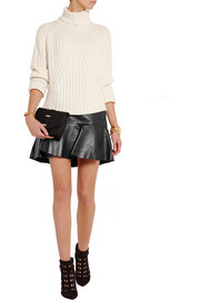 Wrap-effect leather mini skirt